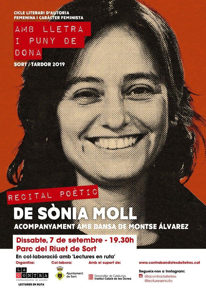 Cartell recital poètic de Sònia Moll. Hi surt la seva foto i el text corresponent.