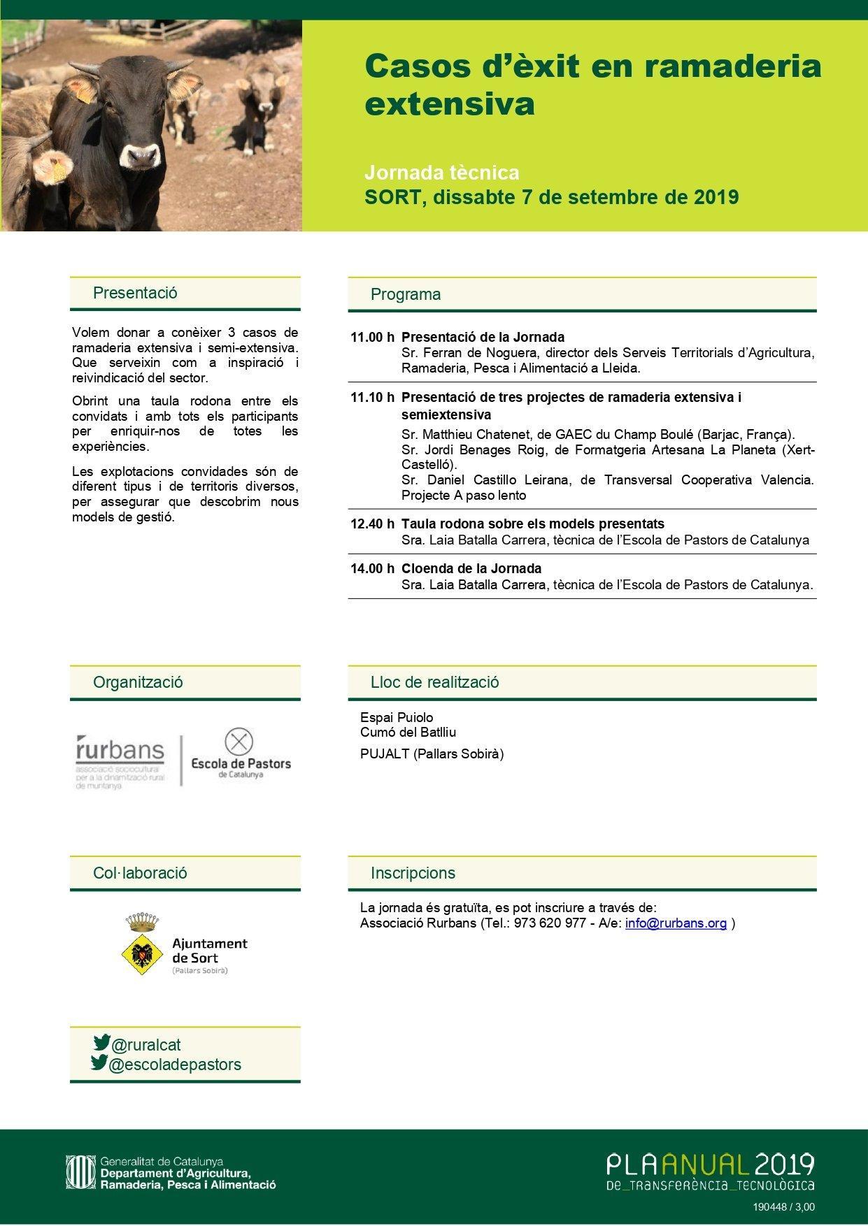 Cartell Jornada tècnica Casos d'èxit ramaderia intensiva