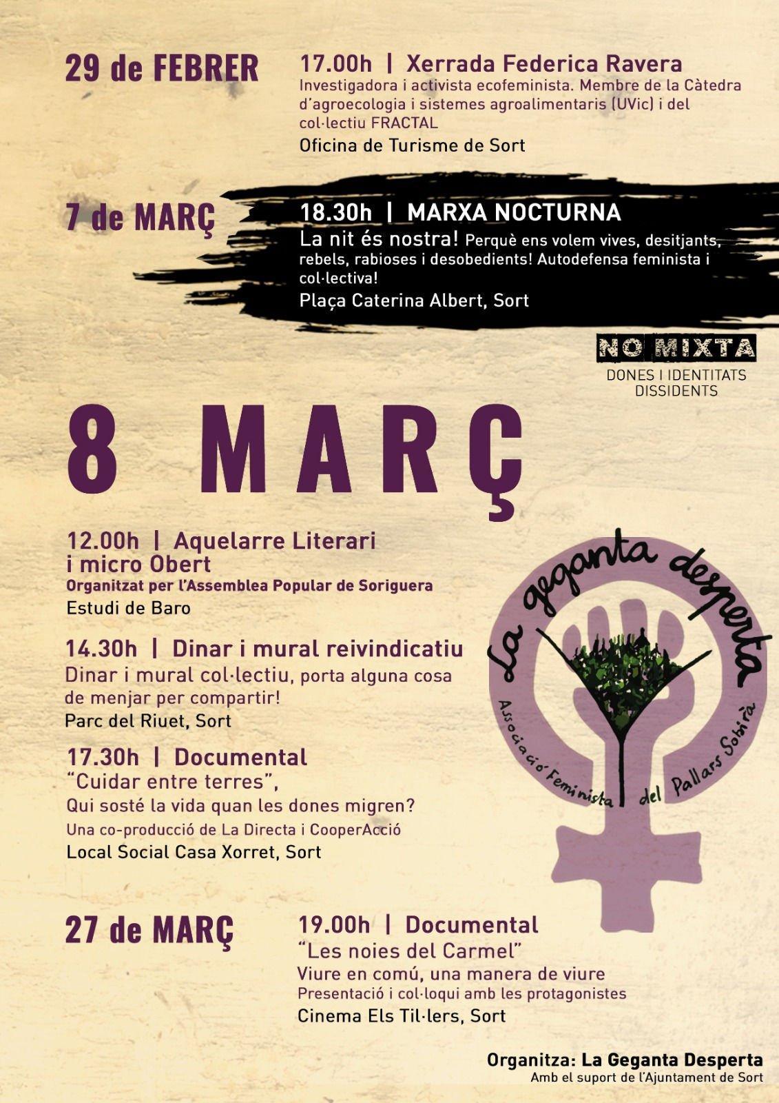 Cartell amb el programa del 8 de març de 2020