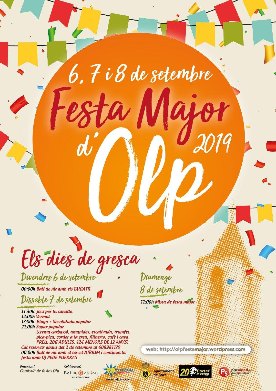 Cartell de la festa major d'Olp 2019