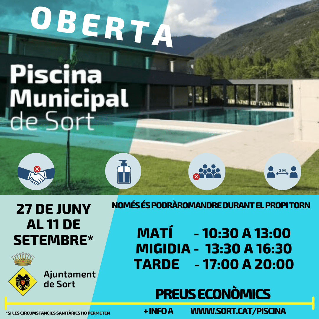 cartell entrada piscina municipal sort 2020