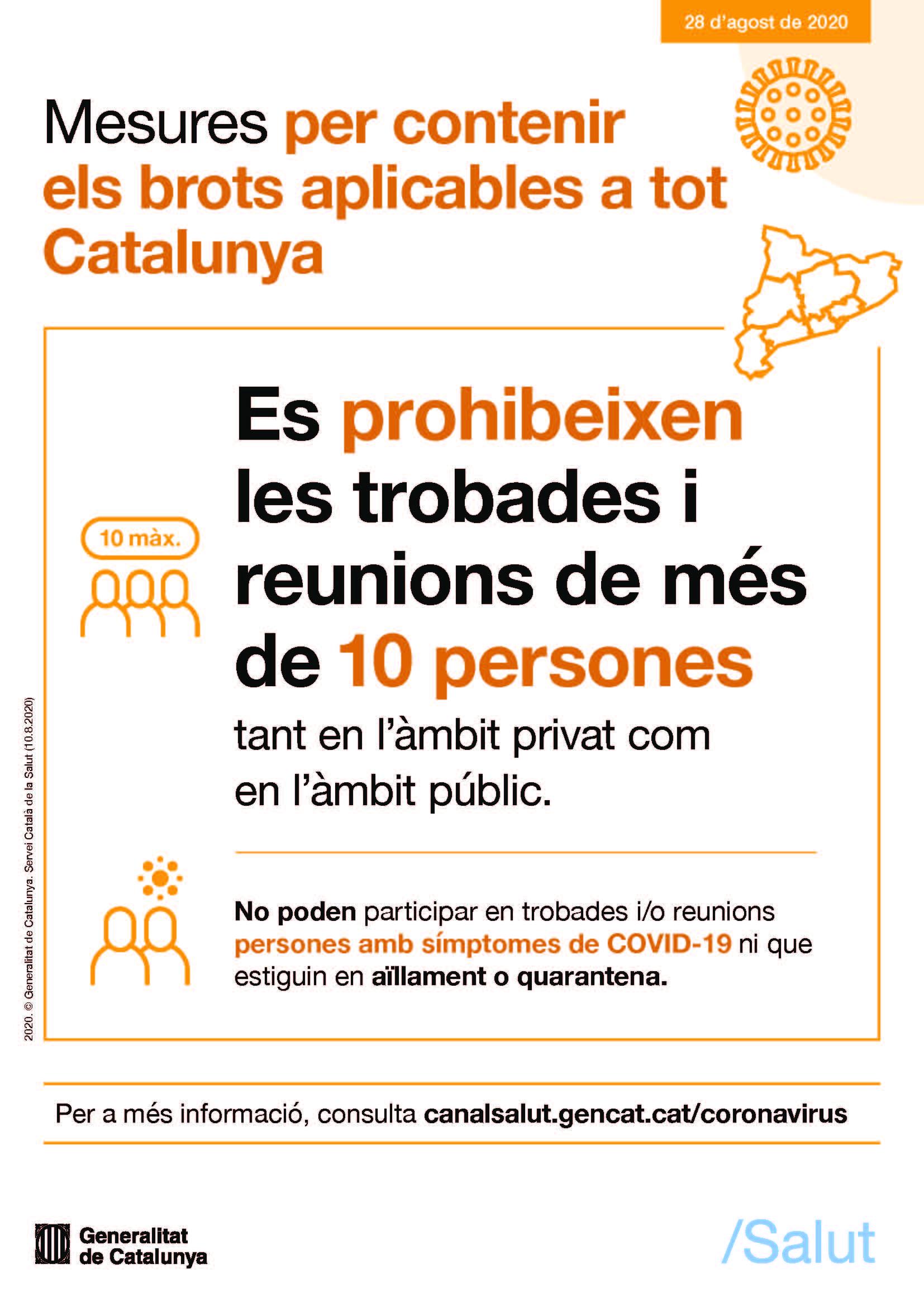 cartell prohibició trobades 10 persones